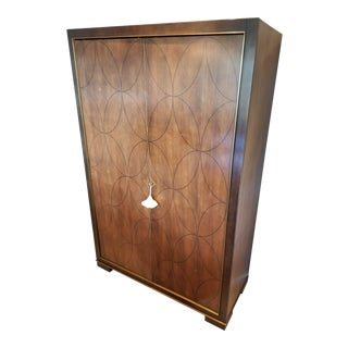 Contemporary Black Walnut & Oval Inlay Bar Cabinet by Barbara Barry