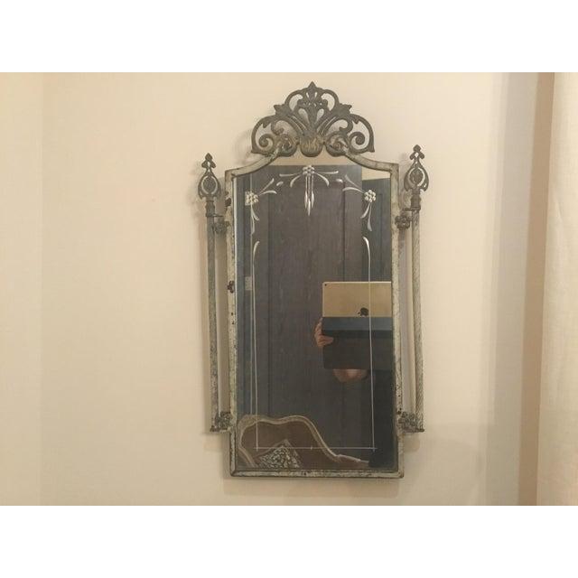 Metal 1940s Vintage Metal Iron Mirror For Sale - Image 7 of 7