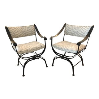 Campaign Style Wrought Iron Club Chairs With Leather Arms - a Pair For Sale