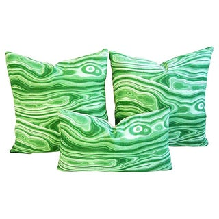 Custom Designer Emerald Malachite Pillows - Set 3