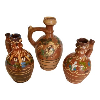 Mid-Century Handmade Pottery Folk Art Carafes from Transylvania - 3 Pieces For Sale