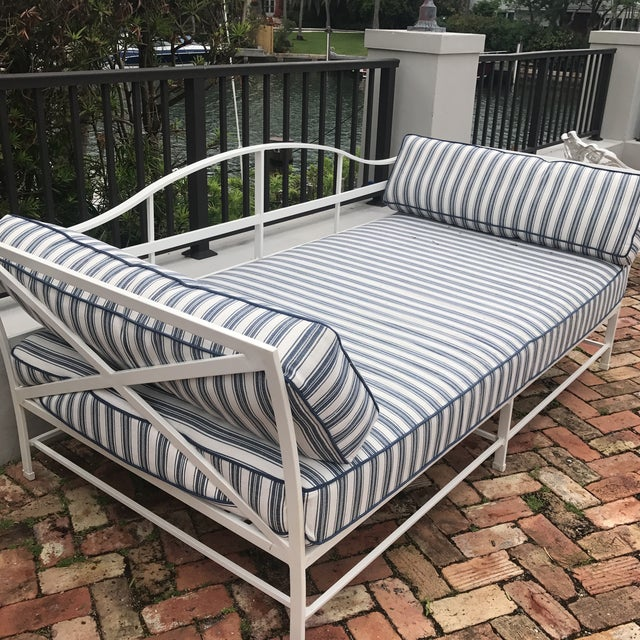 Iron Cast Iron Sunbrella Upholstered Outdoor Daybed For Sale - Image 7 of 7