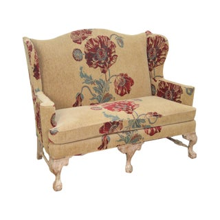 Drexel Heritage Gentlemans Home Floral Upholstered Chippendale Settee Loveseat