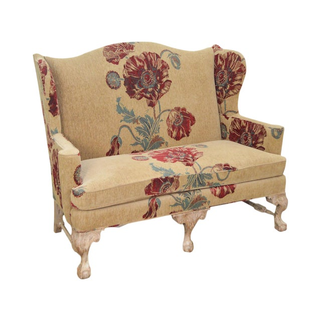 Drexel Heritage Gentlemans Home Floral Upholstered Chippendale Settee Loveseat For Sale