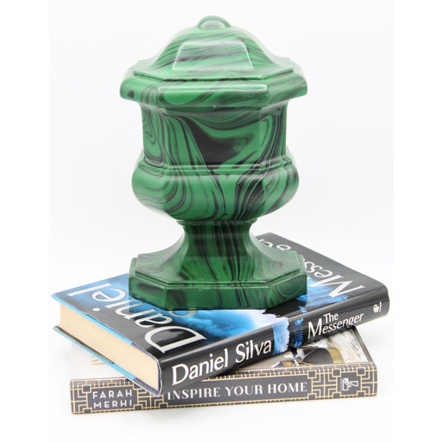 Large Vintage Faux Malachite Chess Piece Bookend For Sale - Image 10 of 11
