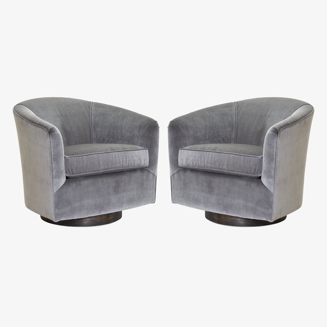 Brilliant Swivel Tub Chairs In Fog Velvet With Walnut Bases Pair Camellatalisay Diy Chair Ideas Camellatalisaycom