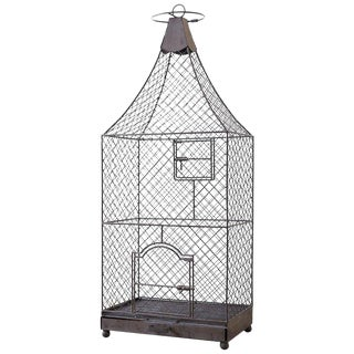 Monumental French Iron Pagoda Top Standing Bird Cage For Sale