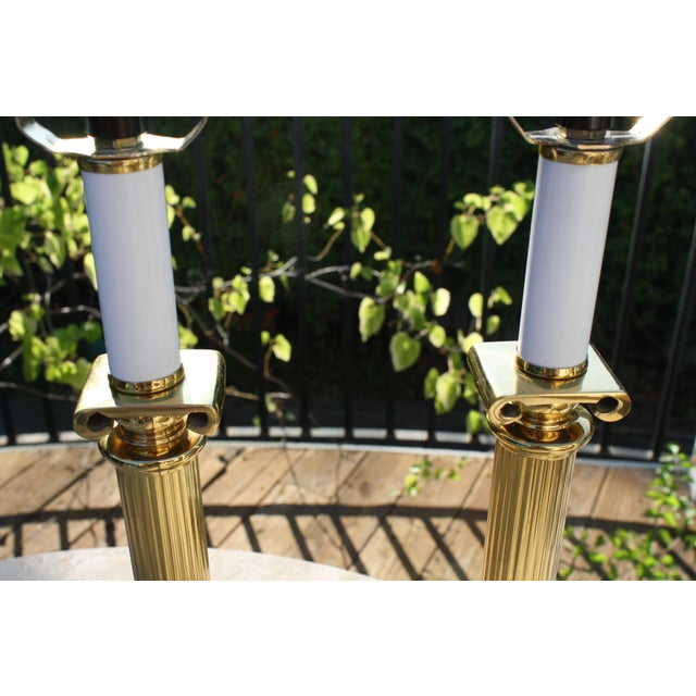 Neoclassical Brass Columnar Candlestick Table Lamps- A Pair - Image 4 of 11
