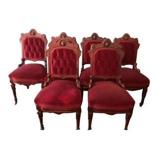 Late 19th Century Vintage Walnut Victorian Tufted Red Velvet Dining Chairs- Set of 6 For Sale