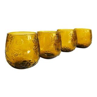 Vintage Floral Amber Glasses - Set of 4 For Sale