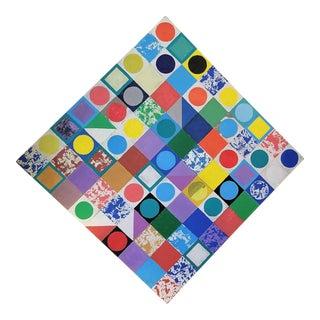 Large Vibrant Memphis Style Color Tile Diagonal Painting For Sale