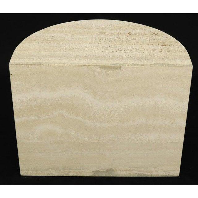 Demilune Travertine Half Round Console Table For Sale - Image 4 of 12