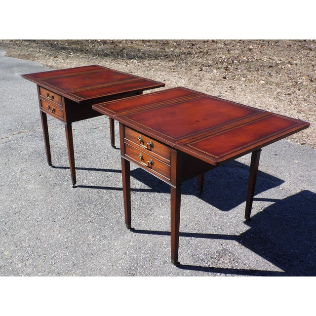 Traditional Pair Federal Leather Top Mahogany Drop Leaf End Tables Nightstands For Sale - Image 9 of 13