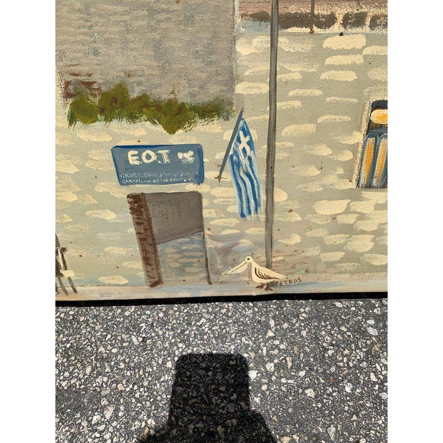 1980s Monumental Oil Painting Mykonos Island Greece Signed by G.Tsitsilianos 1986 For Sale - Image 5 of 13