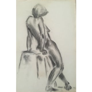 1970s Charcoal and Ink Female Nude Drawing For Sale