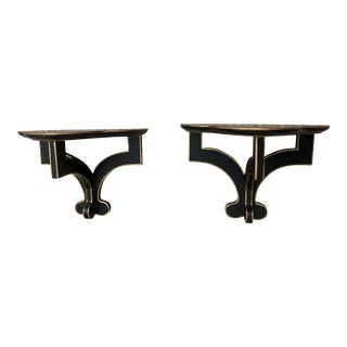 Decorative Black Wall Brackets - a Pair For Sale