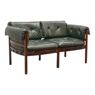 Mid-Century Modern Design Rosewood Green Leather Two-Seat 'Love' Sofa by Arne Norell for Coja, 1960s For Sale