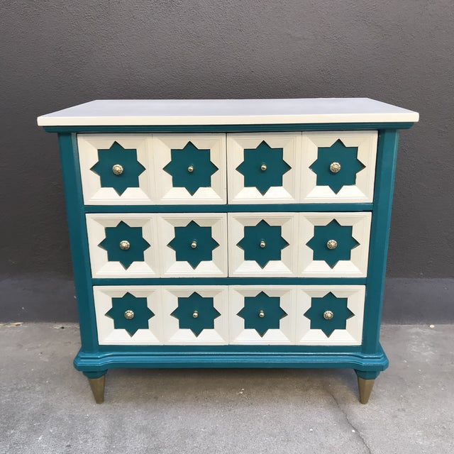 Teal Moroccan Star MCM Painted Chest For Sale - Image 8 of 8