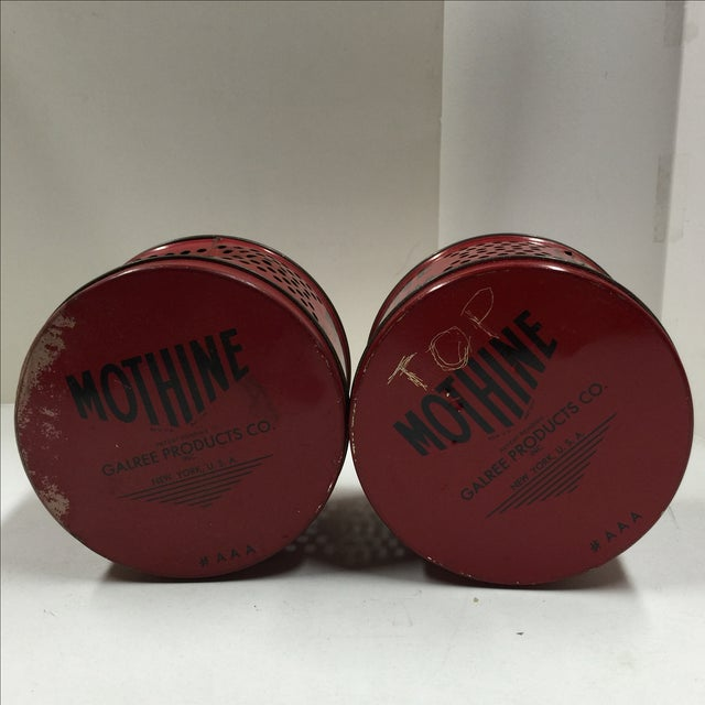 Vintage Red Mothine Tins - A Pair For Sale In New York - Image 6 of 7