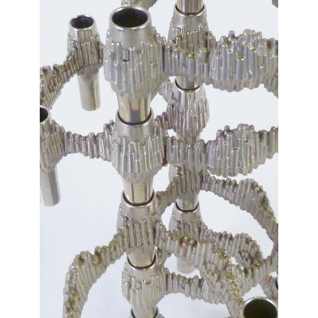 Silver Modern Brutalisy Quist Variomaster Stacking Candleholder by Bmf Nagel, Germany 1970s For Sale - Image 8 of 11