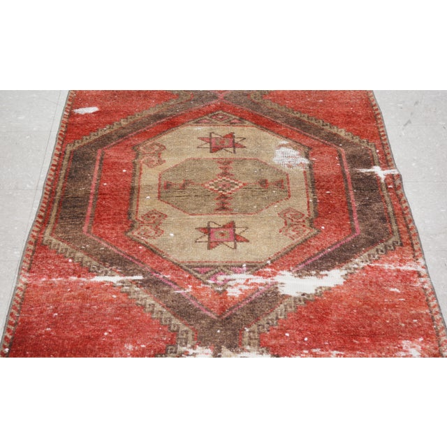 """1950s Boho Chic Brick Red and Brown Wool Kurdish Runner - 3'2""""x13'6"""" For Sale - Image 4 of 7"""