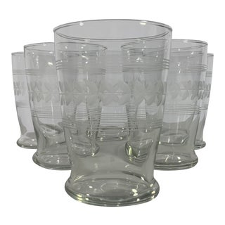 1950s Anchor Hocking Gray Cut Laurel Glass Tumbler - Set of 6 For Sale
