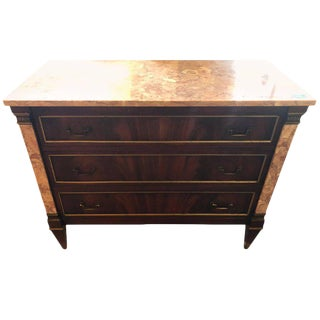 Marble Top Bronze-Mounted Maison Jansen Style Marble Column Front Commode For Sale