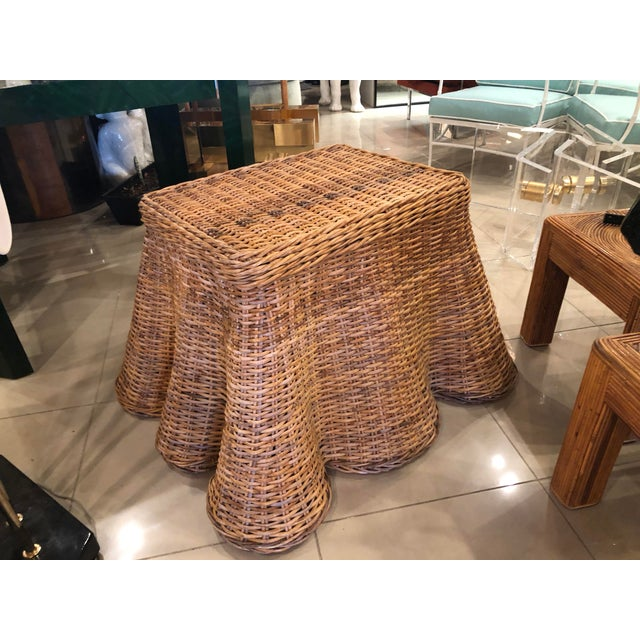 Vintage Palm Beach Tropical Trompe l'Oeil Wicker Draped Coffee Table For Sale In West Palm - Image 6 of 13