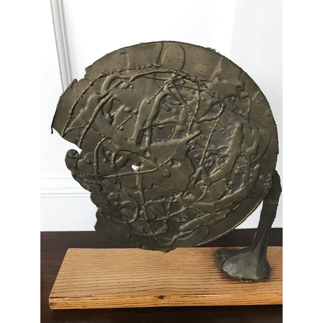 Vintage Mid Century Modern Bronze Metal and Wood Abstract Sculpture For Sale - Image 11 of 12