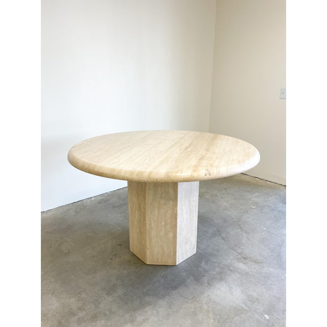 1980s Vintage Postmodern Travertine Marble Round Dining Table For Sale - Image 5 of 12