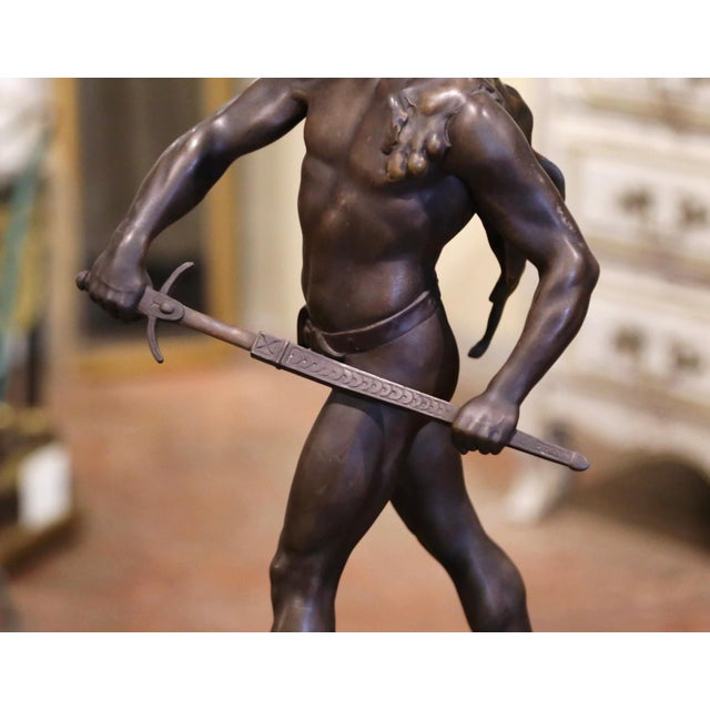 """Metal 19th Century French Spelter Sculpture Titled """"Honor-Patria"""" Signed E. Picault For Sale - Image 7 of 12"""