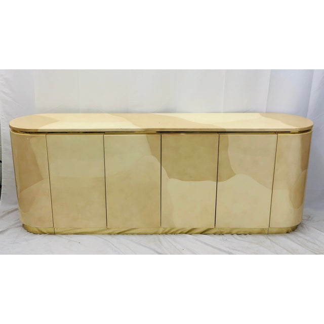 Vintage Mid Century Modern Brass Wrapped Credenza For Sale - Image 9 of 13