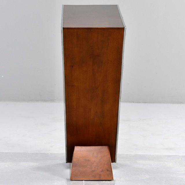 Silver Brazilian Teak and Chrome Console With Triangular Base For Sale - Image 8 of 13