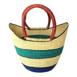 Image of African Bolga Ghana Woven Turquoise Blue Stripe and Tan Yikene Basket For Sale