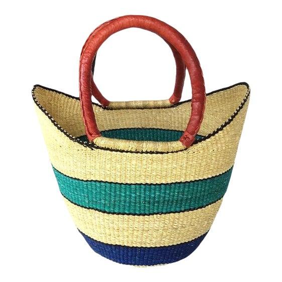 African Bolga Ghana Woven Turquoise Blue Stripe and Tan Yikene Basket For Sale