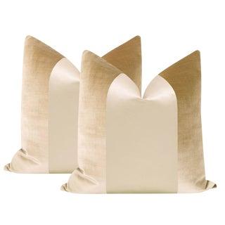 "Champagne Velvet & Silk Panel 22"" Pillows - a Pair"