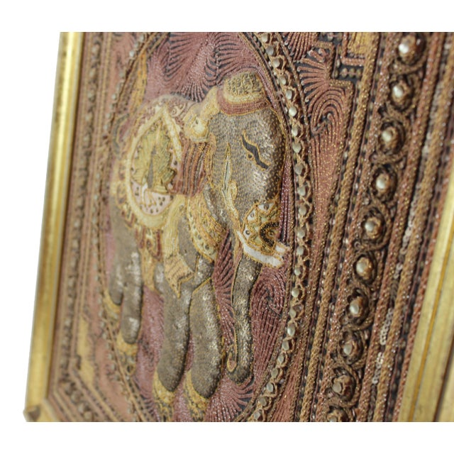 Glass Pasargad DC Hand Made India Beaded Elephant Raised Wall Art - A Pair For Sale - Image 7 of 11