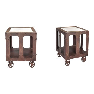 Industrial Style Karlis Marble Top End Tables - a Pair For Sale
