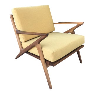Custom Mid Century Z Chair in Soft Yellow For Sale