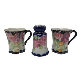 Early 20th Century Antique Noritake Hand-Painted Porcelain Cups & Muffineer - Set of 3 For Sale