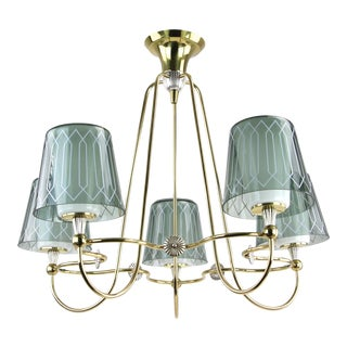 Gerald Thurston Lightolier Brass 5-Light Chandelier For Sale