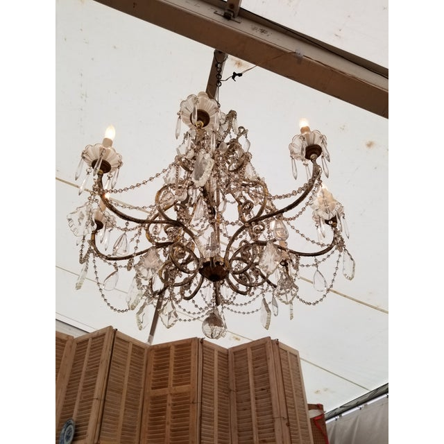 Shabby Chic Large Beaded Italian Chandelier For Sale - Image 3 of 4