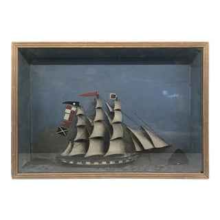 Folk Art Shadowbox Ship Diorama of a Three Masted Schooner For Sale