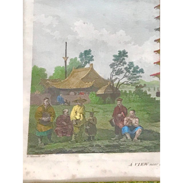 """Glass 1980s """"Embassy of China 1796"""" Framed Reproduction Print For Sale - Image 7 of 12"""