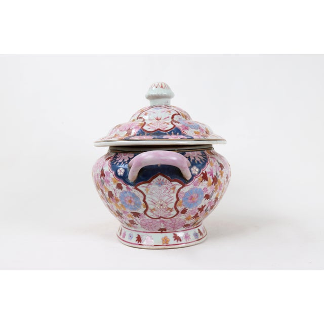 Vintage Famille Rose Tureen With Lid For Sale - Image 4 of 7