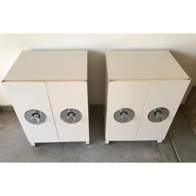 Chippendale Mid-Century Modern Kelly Wearstler Custom White Cabinets - a Pair For Sale - Image 3 of 13