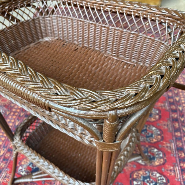 Mid 20th Century Vintage Victorian Wicker Rattan Basket Sewing Stand For Sale - Image 5 of 11