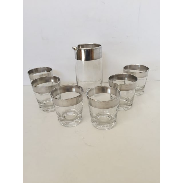 Mid-Century Modern Dorothy Thorpe Silver Banded Pitcher & Glasses - Set of 7 For Sale - Image 3 of 4