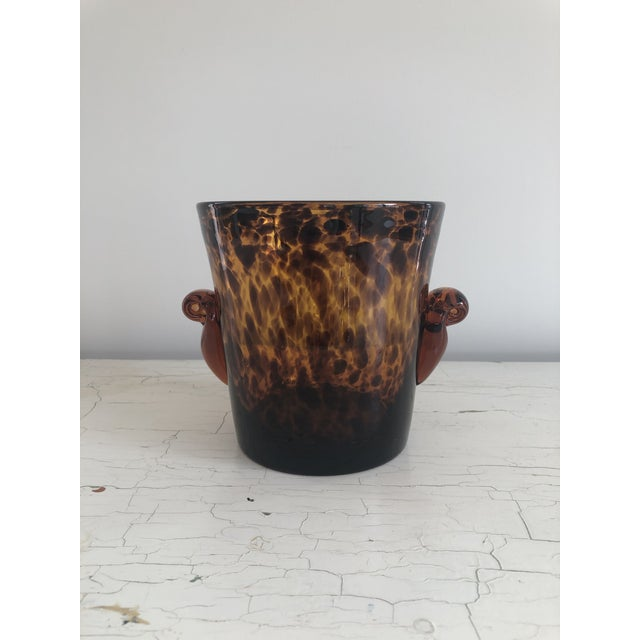 Mid 20th Century Vintage Handblown Tortoiseshell Glass Wine Cooler Ice Bucket For Sale In Indianapolis - Image 6 of 6
