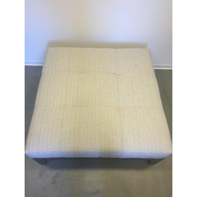 Modern Belgian Linen Upholstered Ottoman - Image 6 of 8